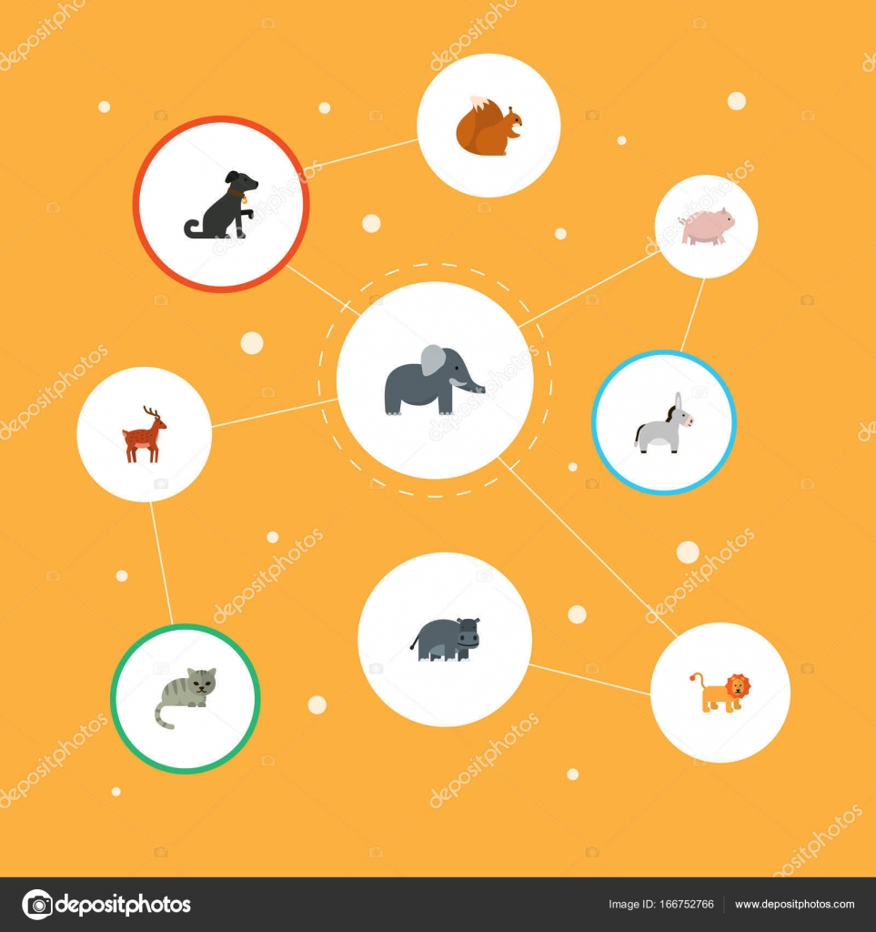 Los iconos plano hipopótamo, Jackass, alces y otros elementos del ...