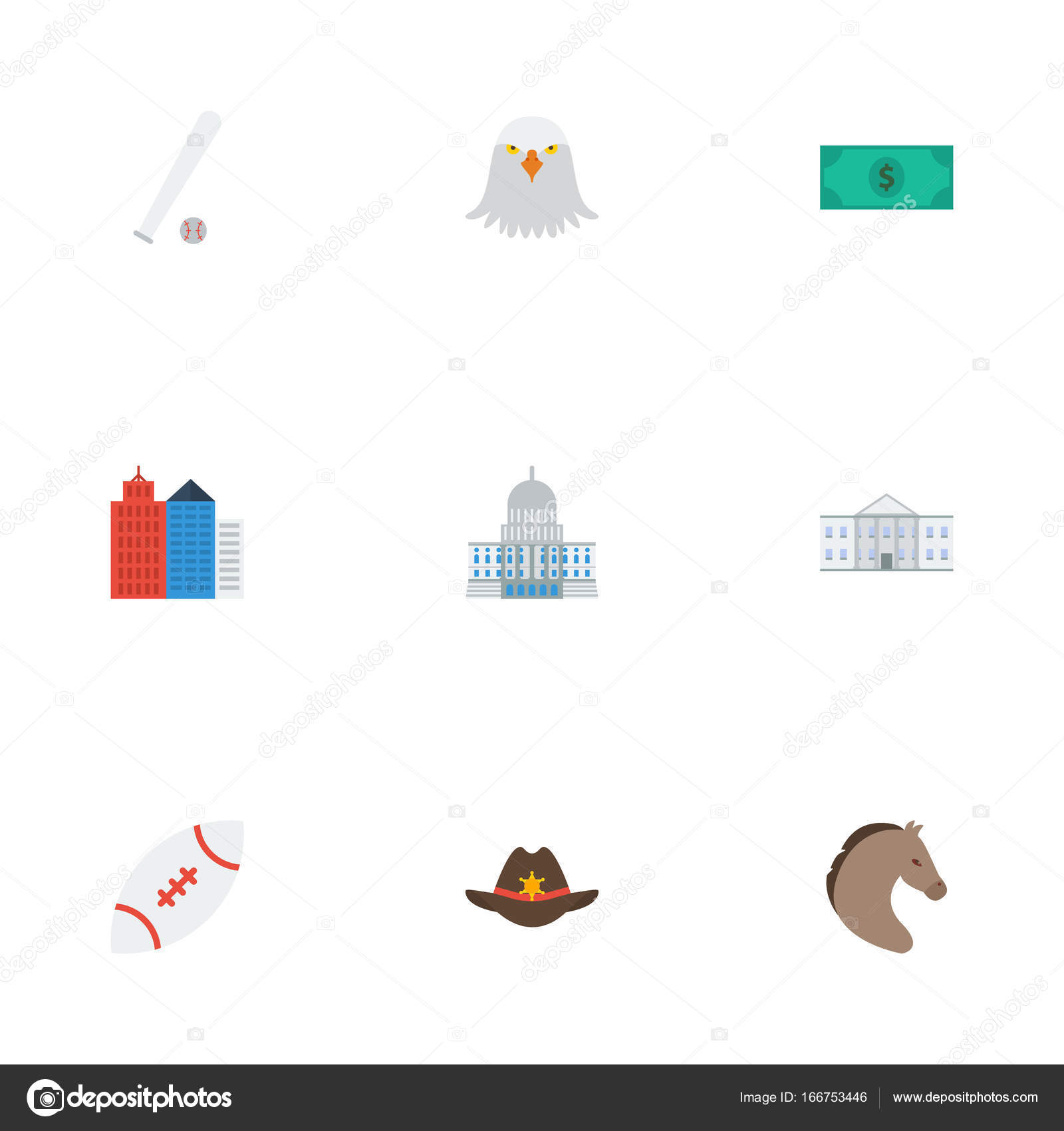 Flat Icons Cowboy White House Bird And Other Vector Elements Set