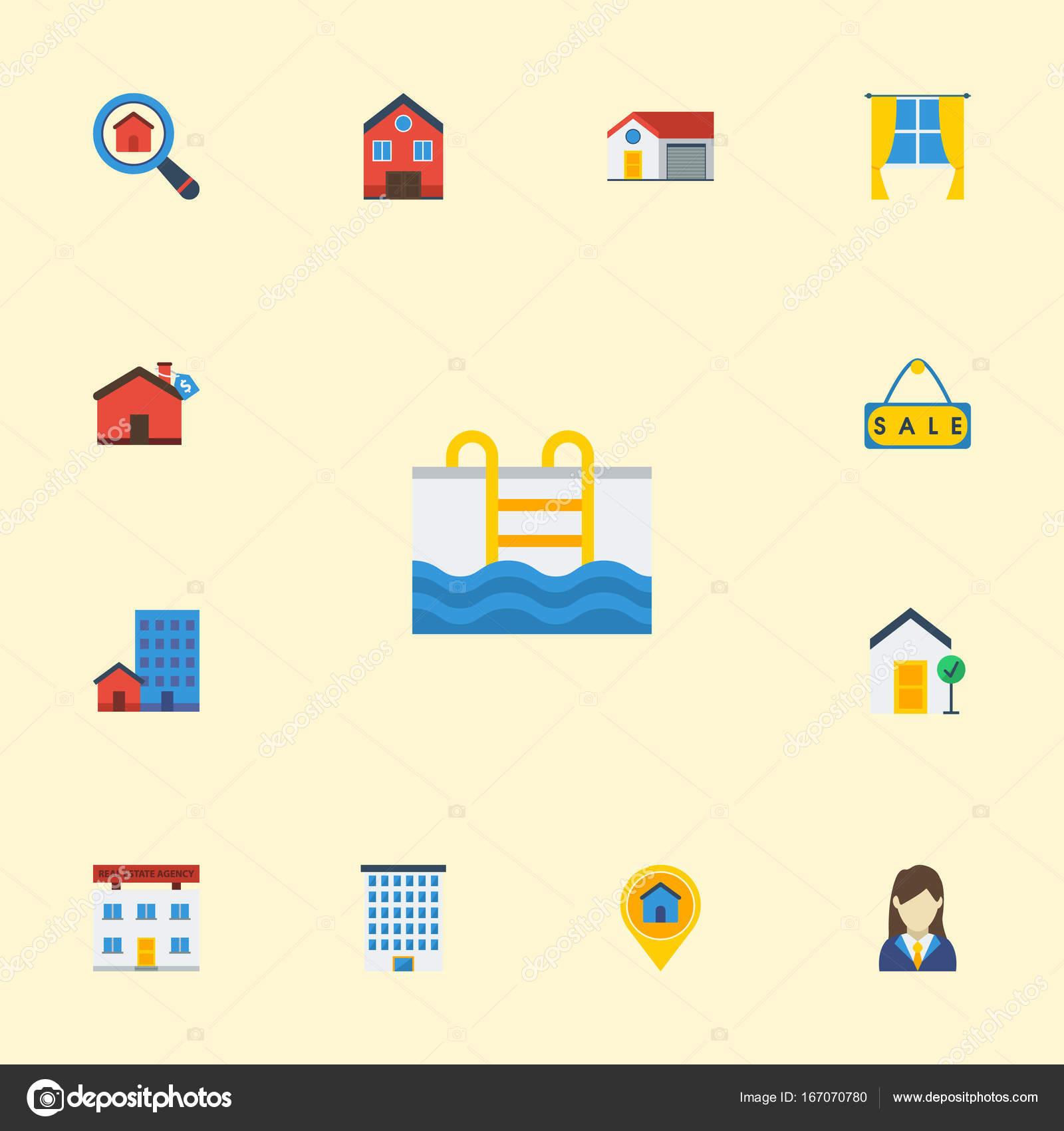 Los iconos planos propiedad, casa, marco y otros elementos del ...