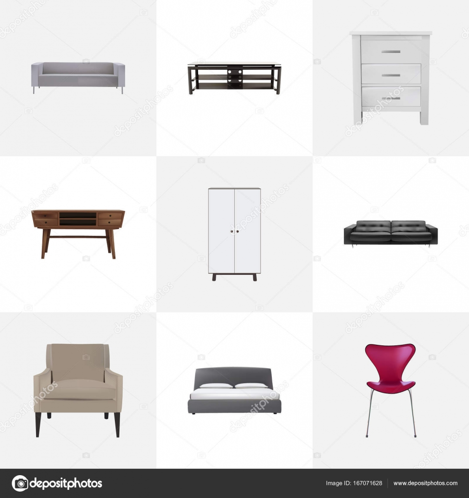 Excellent Realistic Stool Couch Wardrobe And Other Vector Elements Cjindustries Chair Design For Home Cjindustriesco