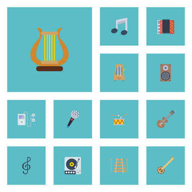 Flat Icons Quaver, Acoustic, Tone Symbol And Other Vector Elements. Set Of Music Flat Icons Symbols Also Includes Musical, Box, Mp3 Objects.
