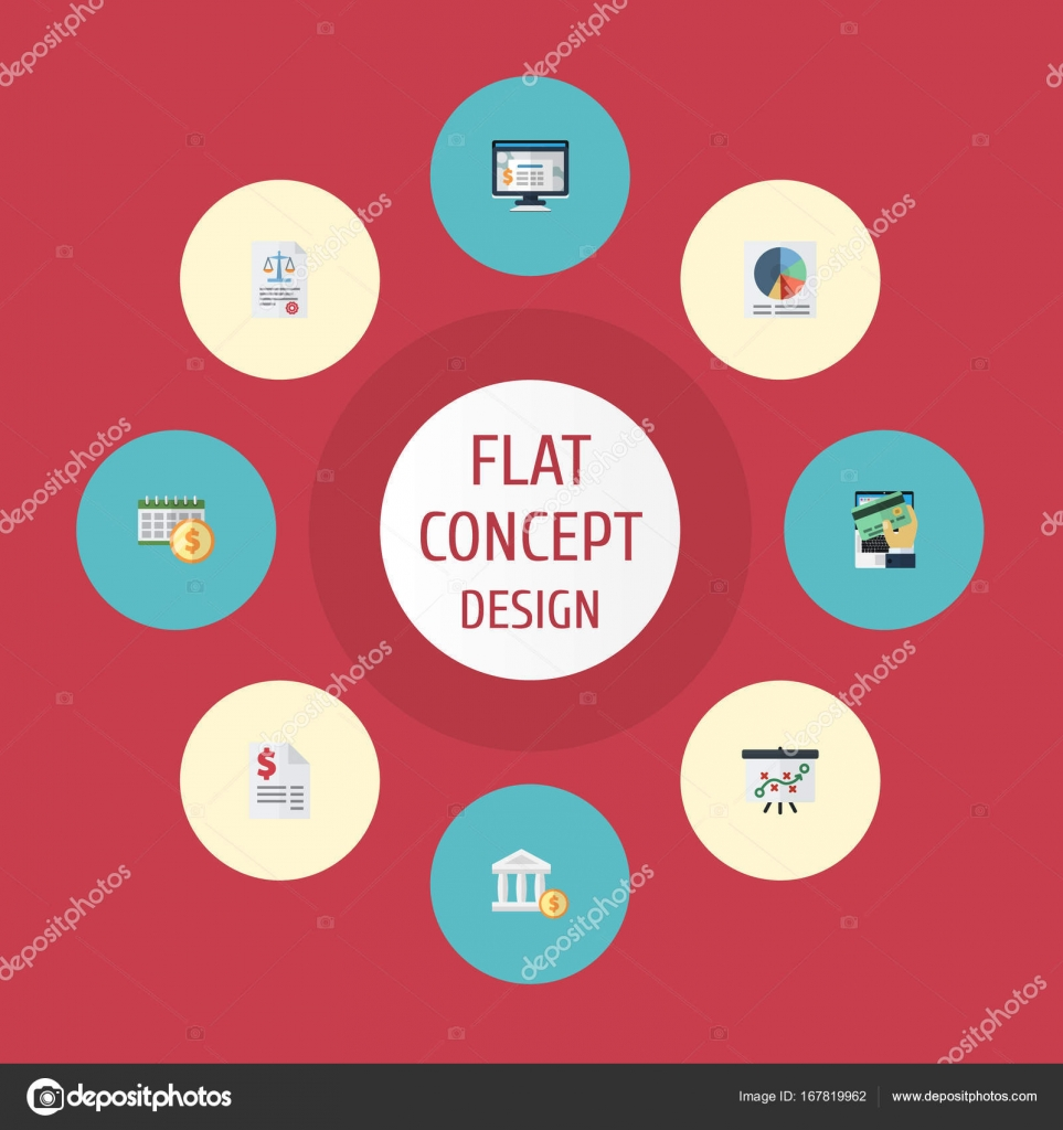 Flat Icons Accounting System Deadline Duty And Other Vector Elements Set Of Registration