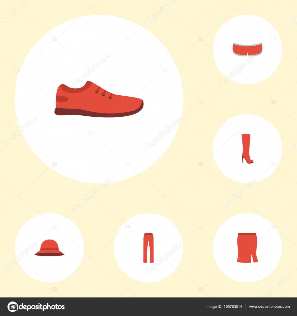 Flat Icons Pants Gumshoes Apparel And Other Vector Elements Set