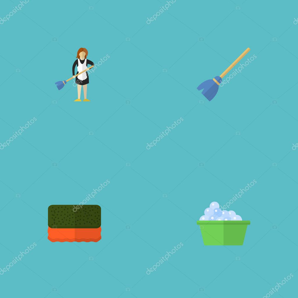 Flat Icons Housewife, Laundry, Besom And Other Vector Elements. Set Of Hygiene Flat Icons Symbols Also Includes Cleaning, Broom, Whisk Objects.