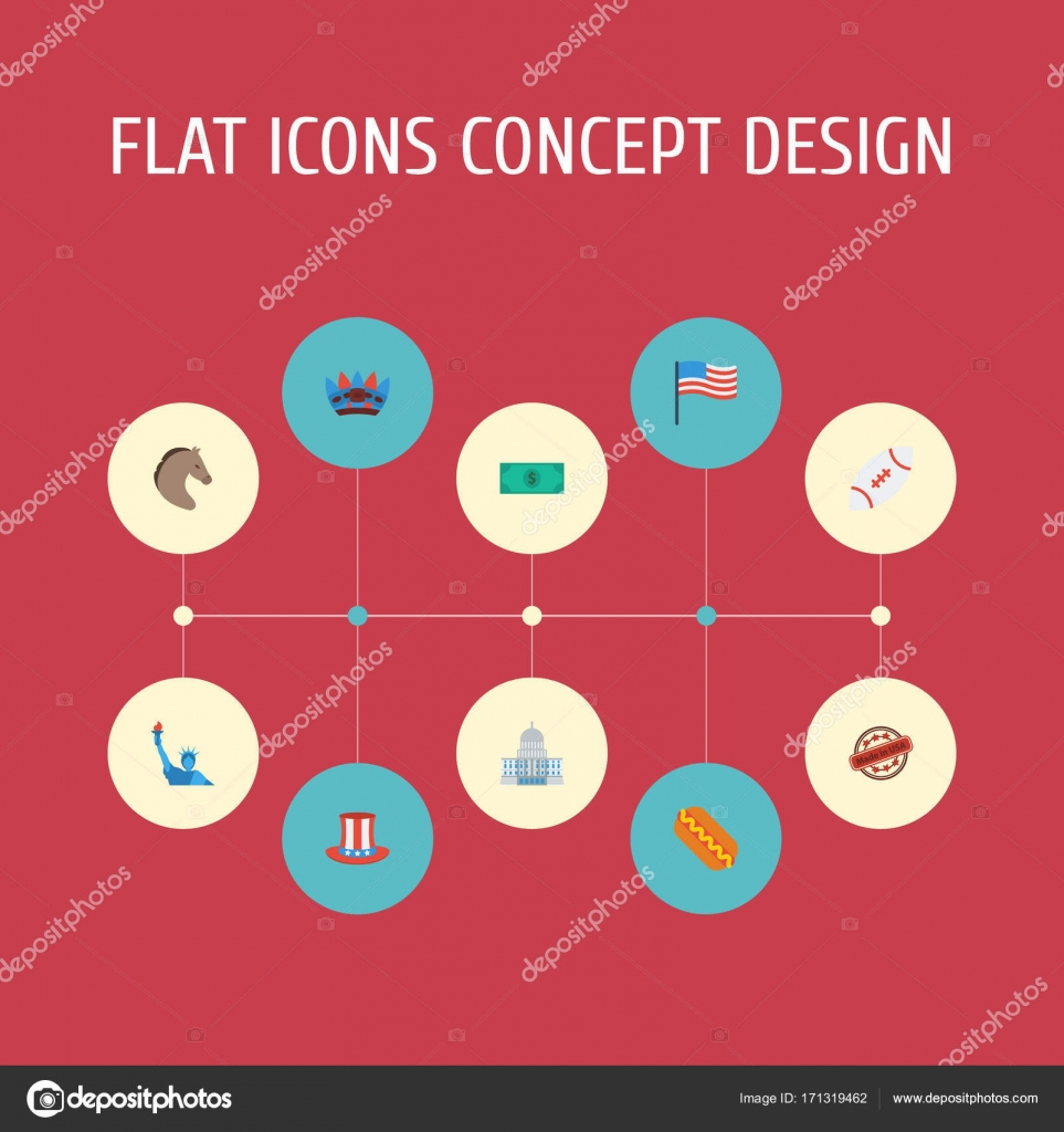Flat Icons Greenback Freedom Monument Government And Other Vector