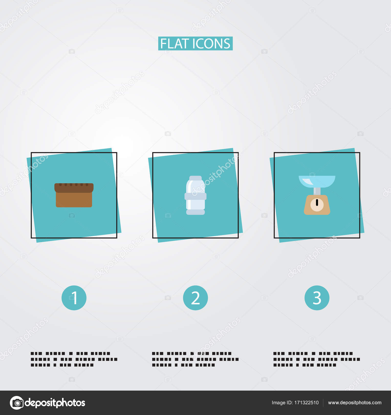 Flat Icons Kitchen Measurement, Loaf, Spice And Other Vector ...