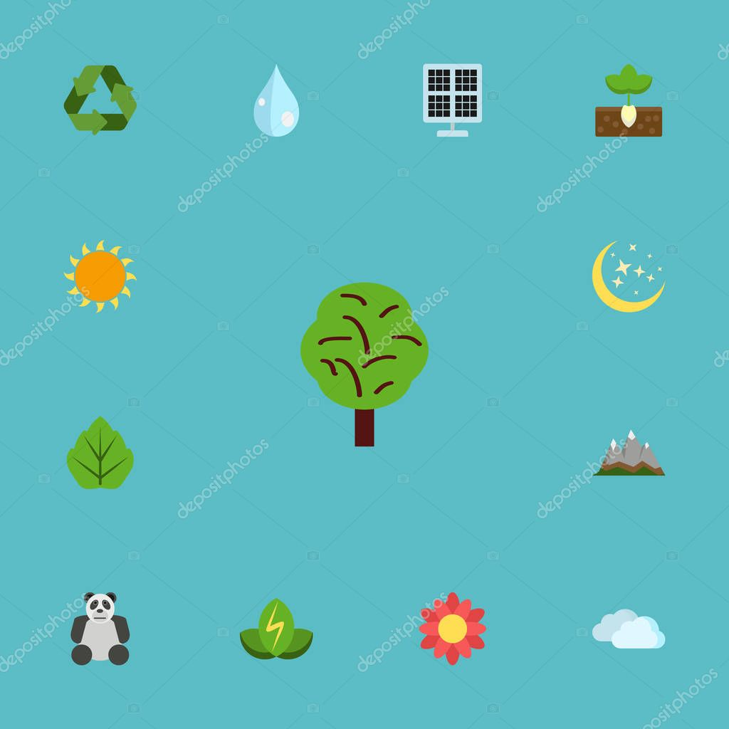 Flat Icons Sun Power, Water, Sky And Other Vector Elements. Set Of Green Flat Icons Symbols Also Includes Peak, Sun, Leaf Objects.