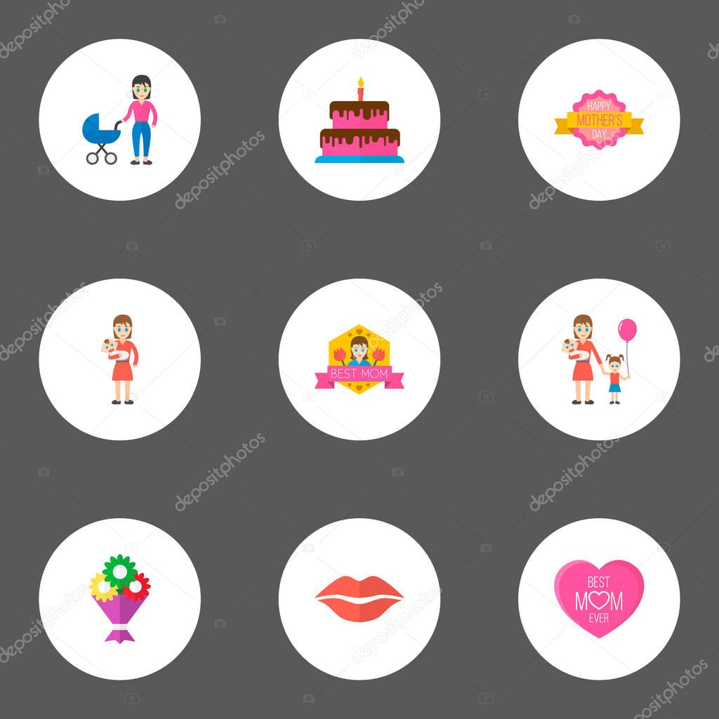 Happy mothers day icon flat layout design with lips, baby and bouquet symbols. Lovely mom beautiful feminine design for social, web and print.