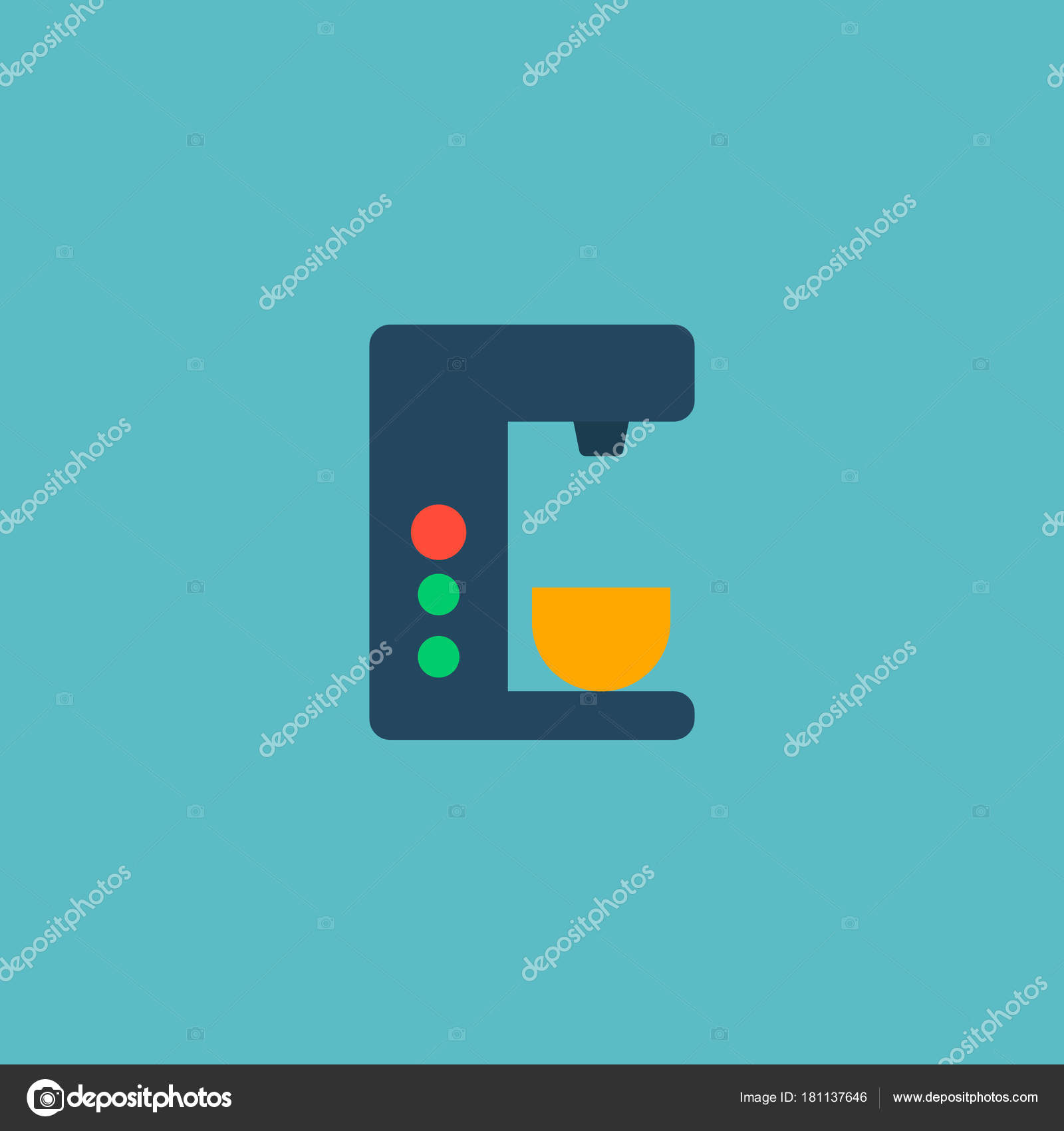 Coffee maker icon flat element  Vector illustration of