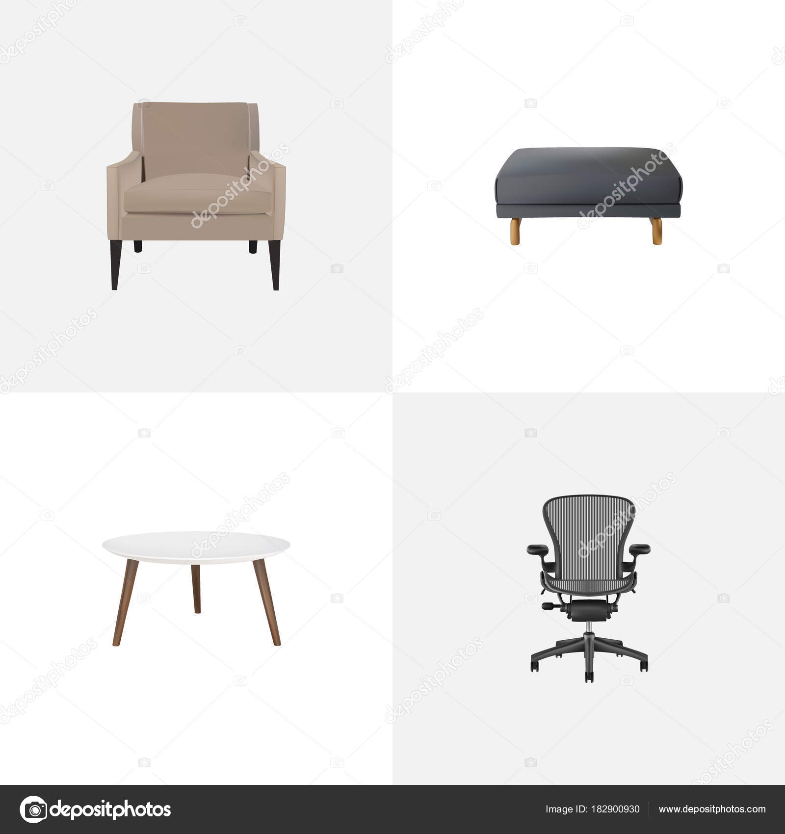 Astounding Set Of Furniture Realistic Symbols With Armchair Office Cjindustries Chair Design For Home Cjindustriesco