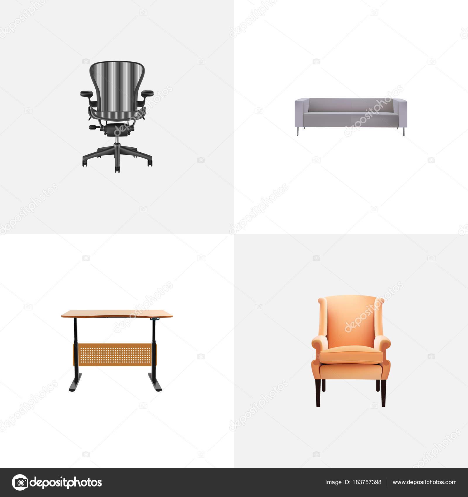 Realistische Symbole Dekoration mit Bürostuhl, Schreibtisch, Sofa ...