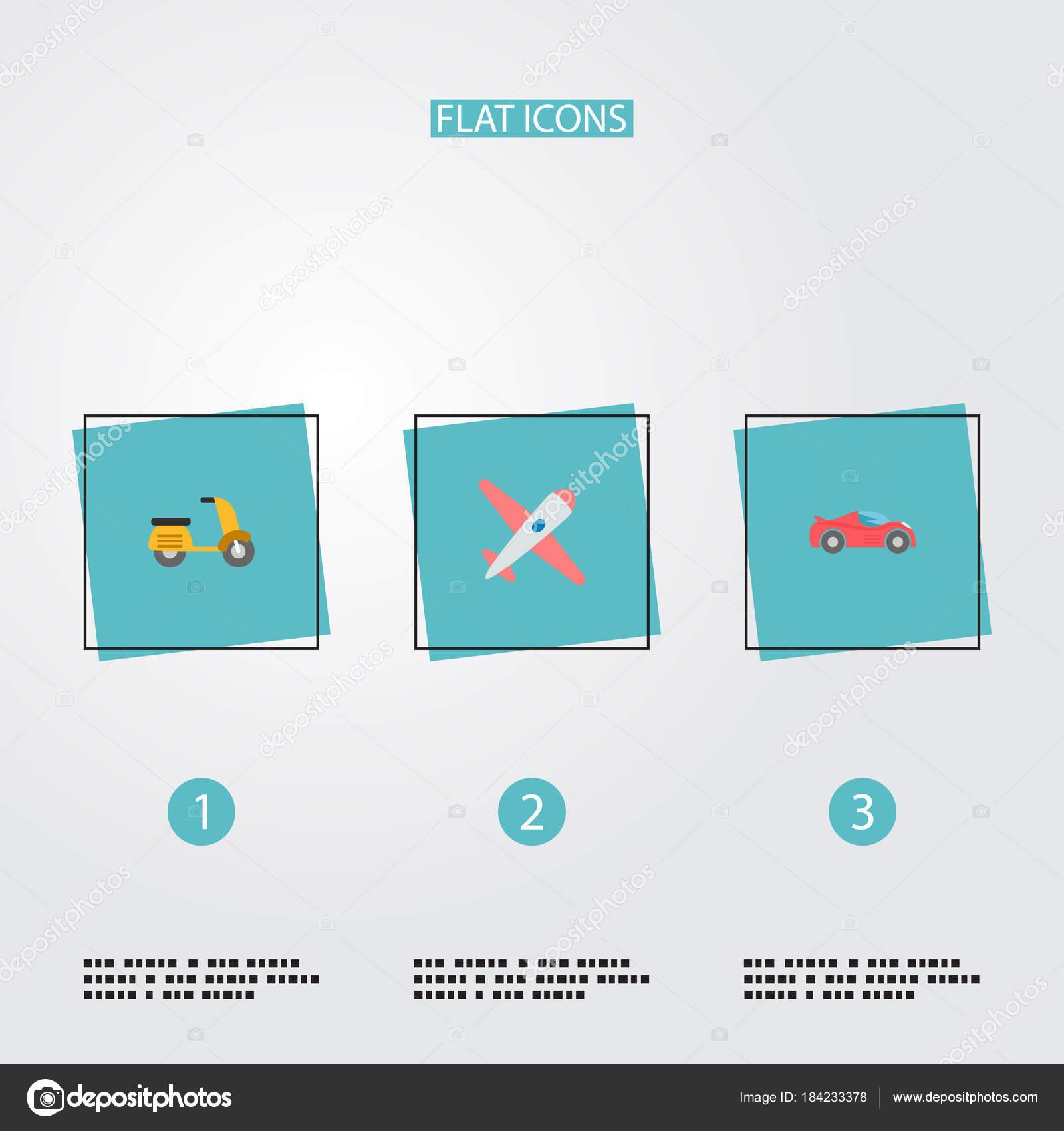 Sistema de auto los iconos estilo plano símbolos con ciclomotor ...