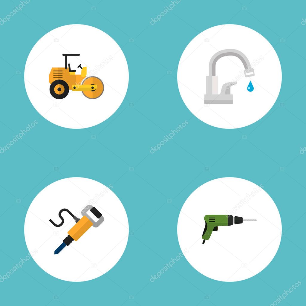 Set of construction icons flat style symbols with jackhammer, road roller, drill and other icons for your web mobile app logo design.