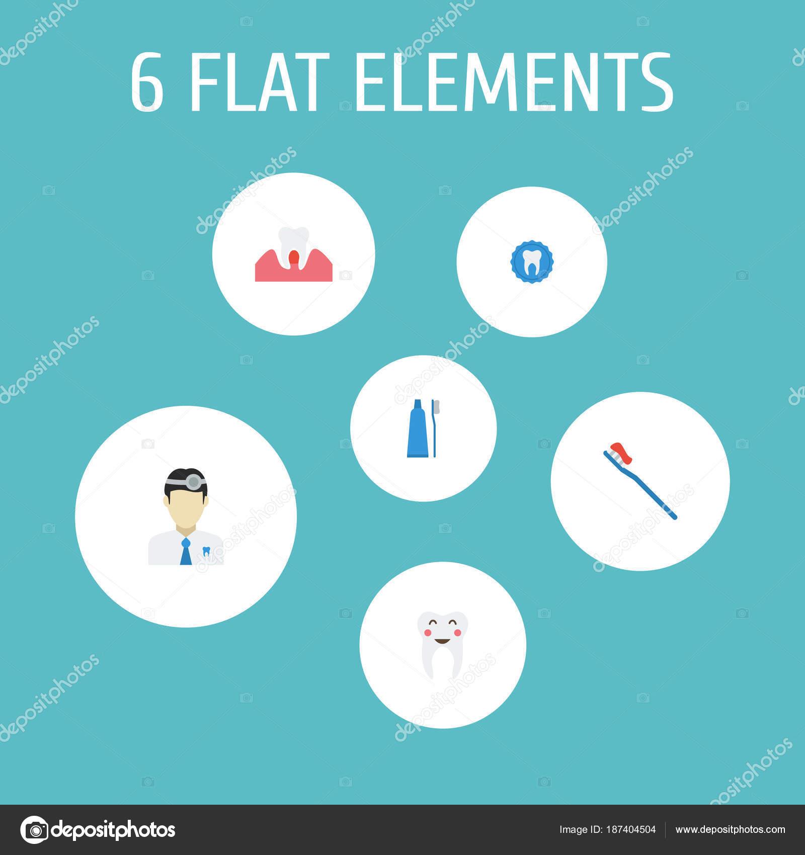 b645b106a Conjunto de símbolos de estilo plano dental ícones com saudável ...