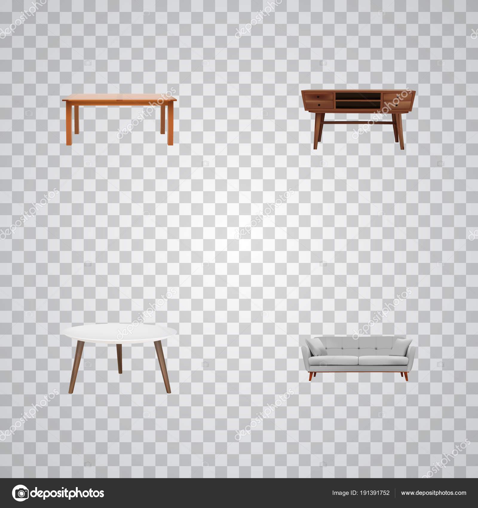 Möbel Realistische Symbole Mit Kommode Runder Tisch Diwan Und