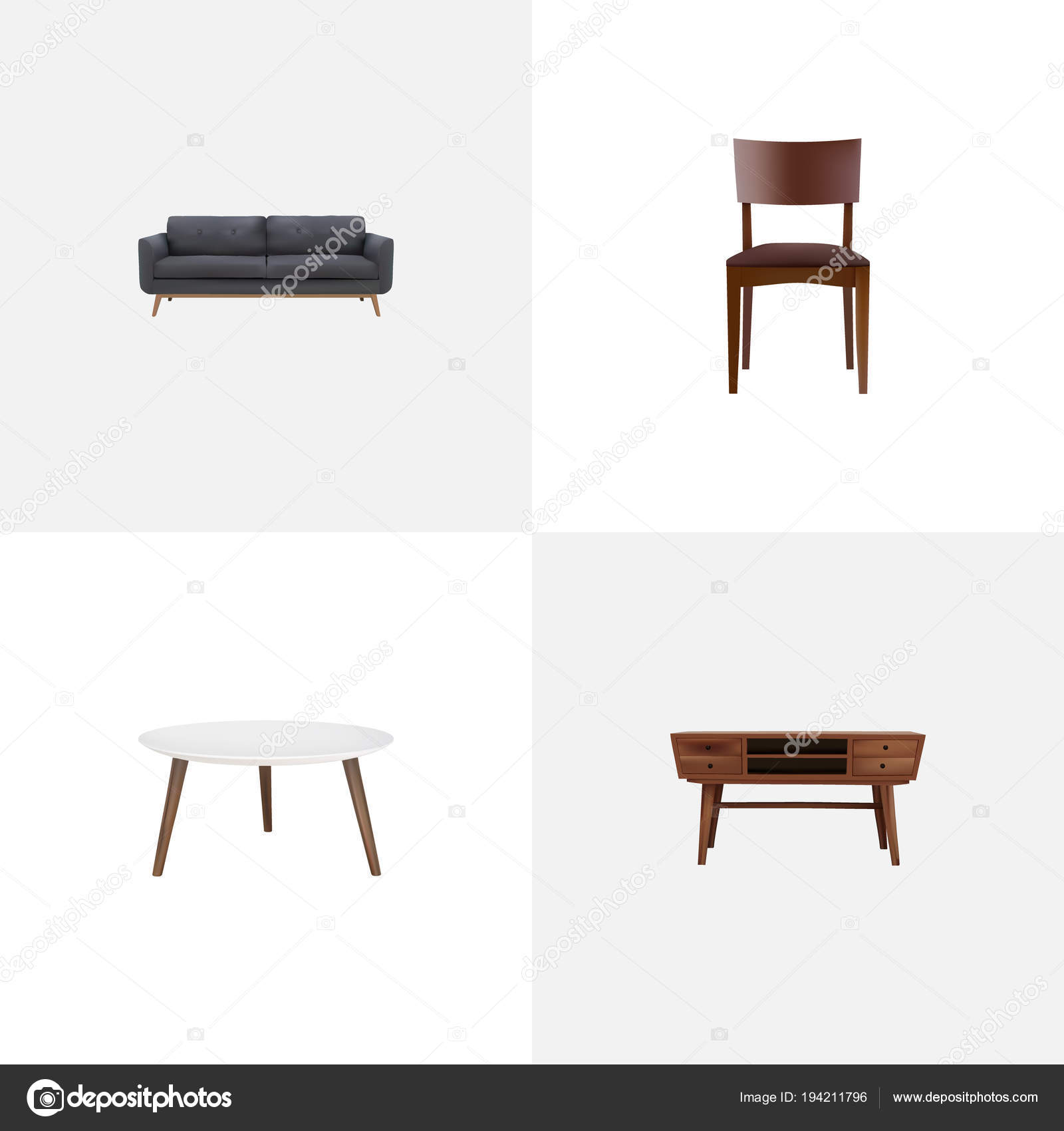 Satz Von Möbel Realistische Symbole Mit Kommode Hocker Runder