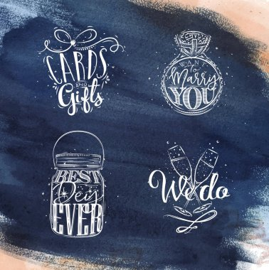 Wedding symbols blue