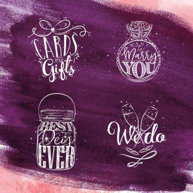 Wedding symbols violet