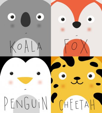 Animal muzzles koala, fox, penguin, cheetah