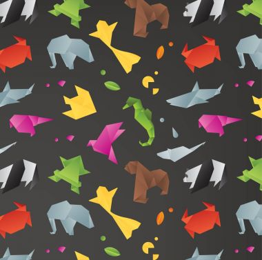 Animals origami pattern black