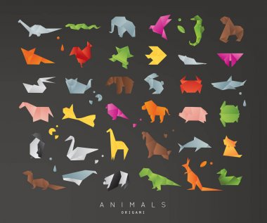 Animals origami set black