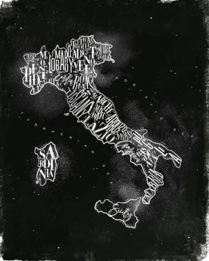 Map Italy vintage chalk