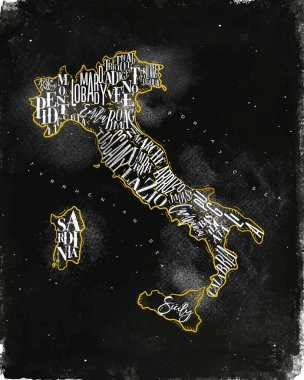 Map Italy vintage chalk yellow