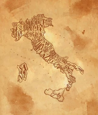 Map Italy vintage craft