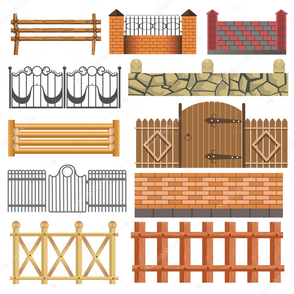 Set Of Different Fence Design Wooden Stock Vector Sonulkaster