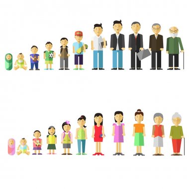 Illustration of different age of people.
