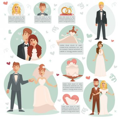set of bride and groom icons