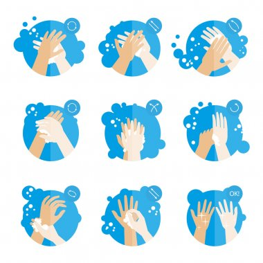 set of icons for washing hands properly