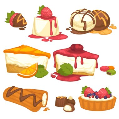Set of cakes and sweets
