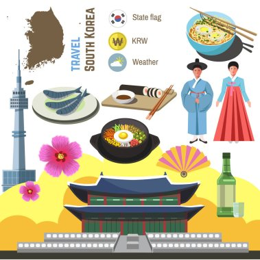south korea travel symbols set