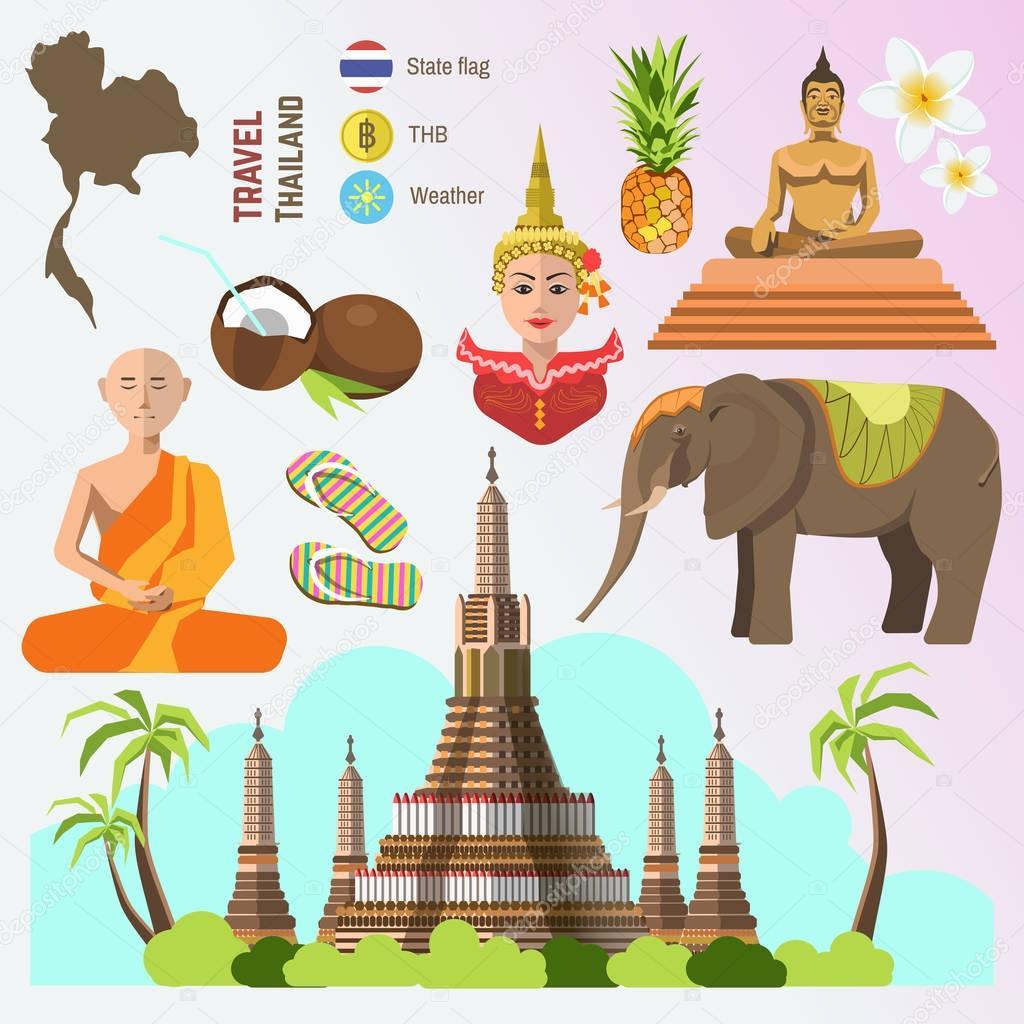 thailand travel symbols set