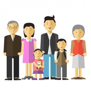 cartoon characters of happy big family