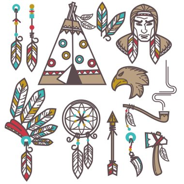 Set of wild american indian elements