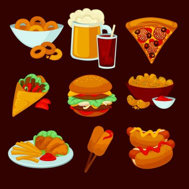 Set of fast food meals on dark background stock vector