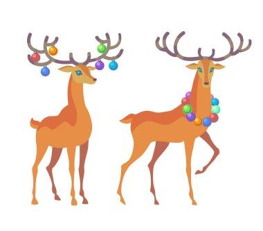 Two Graceful Christmas Reindeer