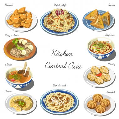 Collection of Central asia food dishes