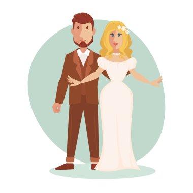 Young happy bride and groom, vector, illustration clip art vector