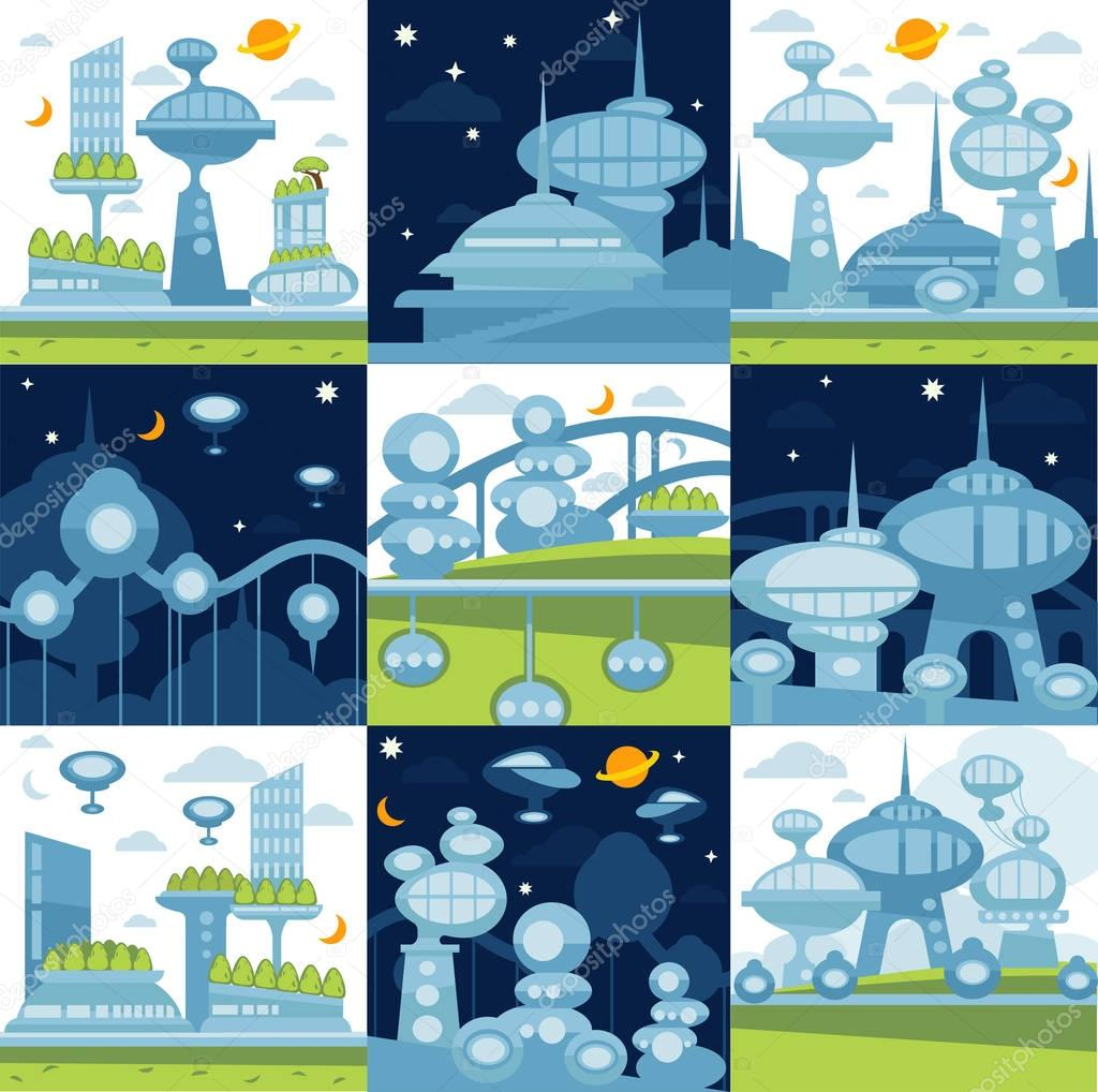 set of Future city landscapes