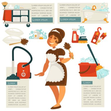 housemaid and cleaning supplies