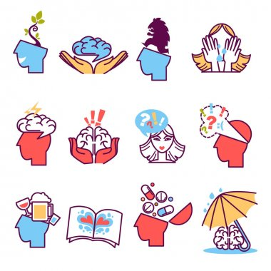Icons set of psychotherapy