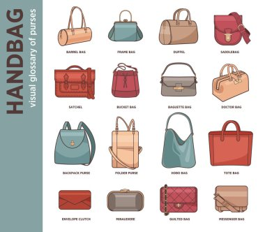 icon set of fashion bags