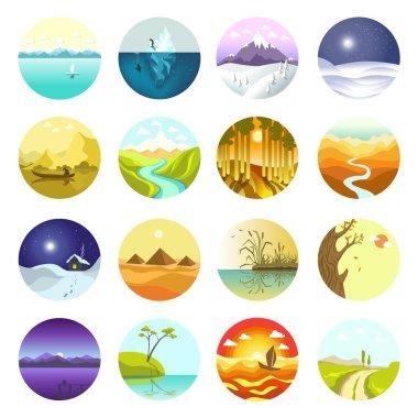 Landscapes icons set