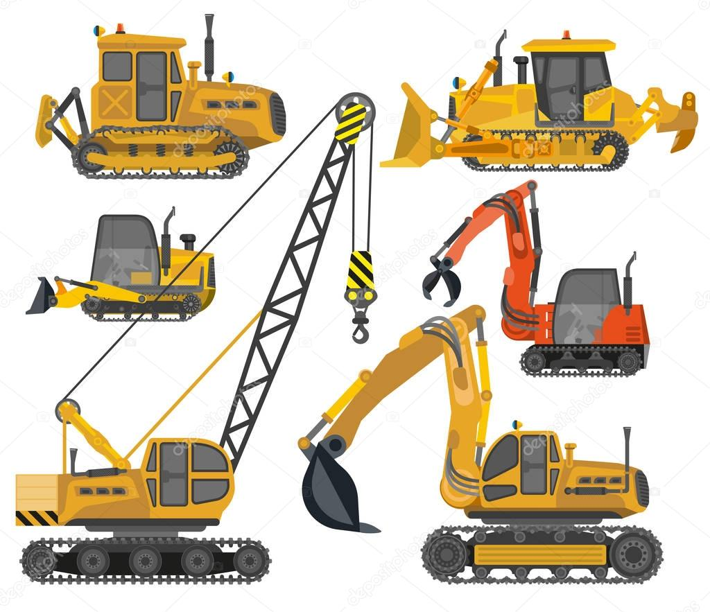 Icons set of construction machinery