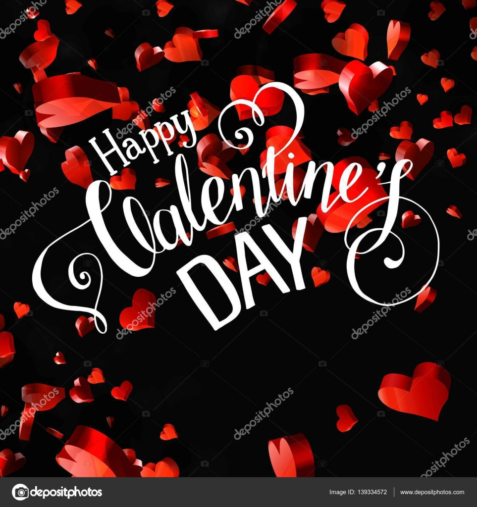 Valentines Day Party Lettering greeting card or Flyer template ...