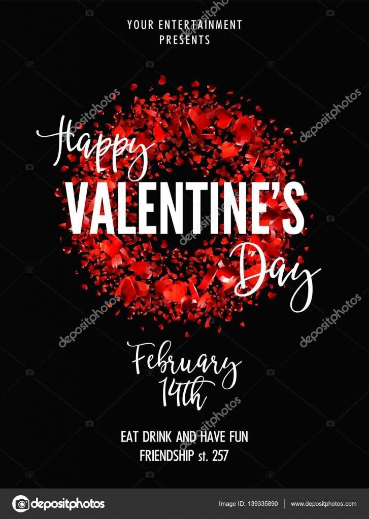 Valentines Day Party Grußkarte oder Flyer Vorlage — Stockvektor ...