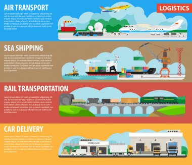 Posters of logistics for shipment cargos types